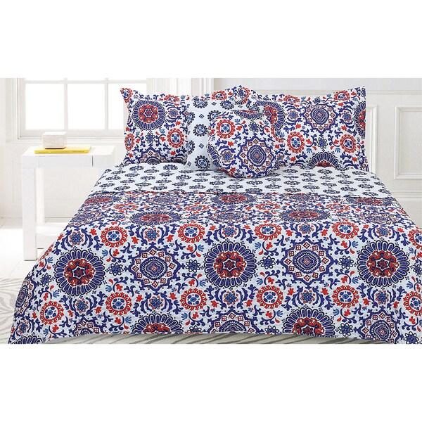 Lauren Taylor- Saltilo 5-piece Quilt Set Blue and Red