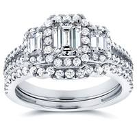 Annello by Kobelli 14k White Gold 1 1/2ct TDW Three Stone Emerald Shape Diamond Bridal Rings Set