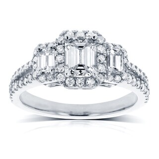 Annello by Kobelli 14k White Gold 1 1/5ct TDW Three Stone Emerald Diamond and Halo Engagement Ring