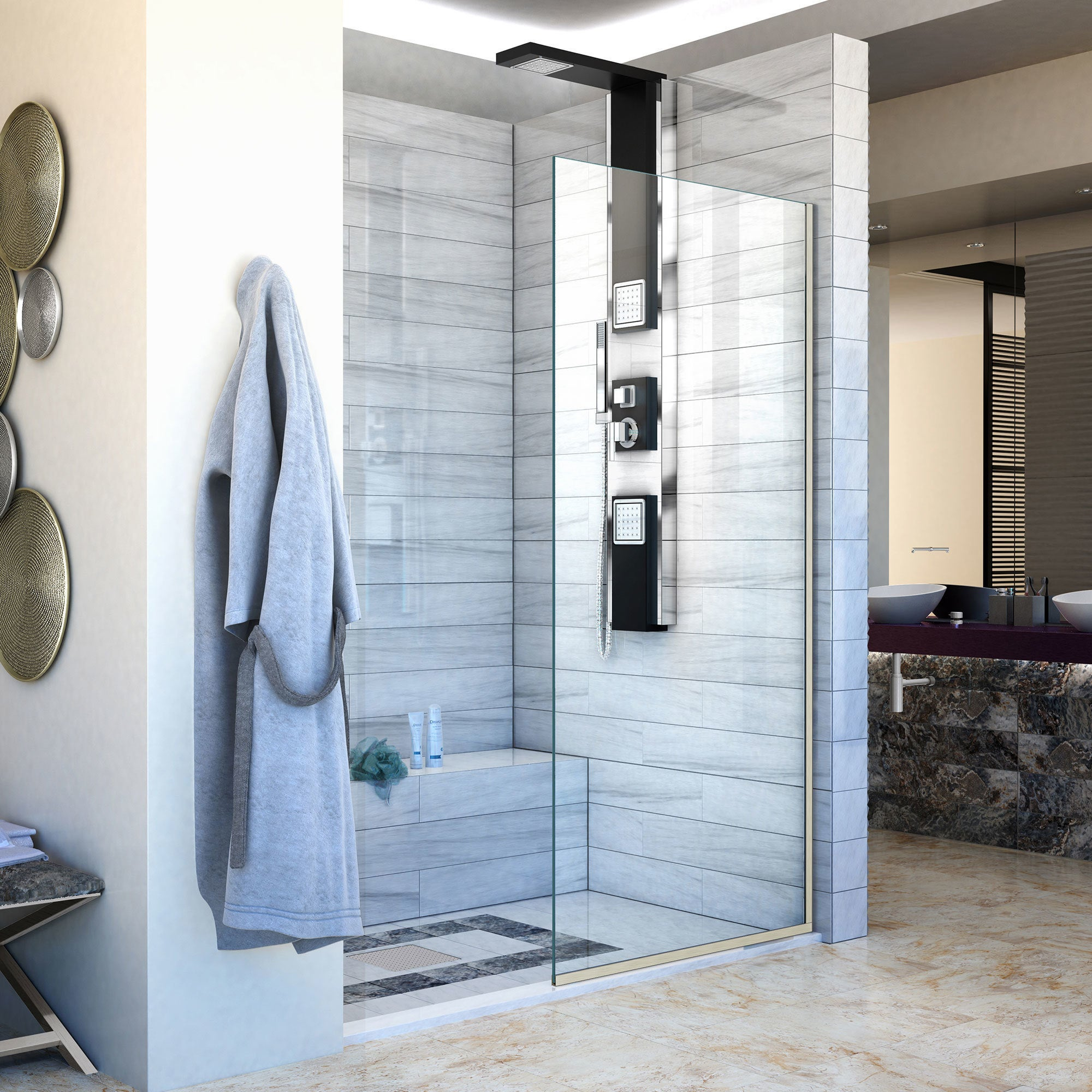 Dreamline Linea Single Panel Frameless Shower Screen 34 In W X 72 In H 34 W