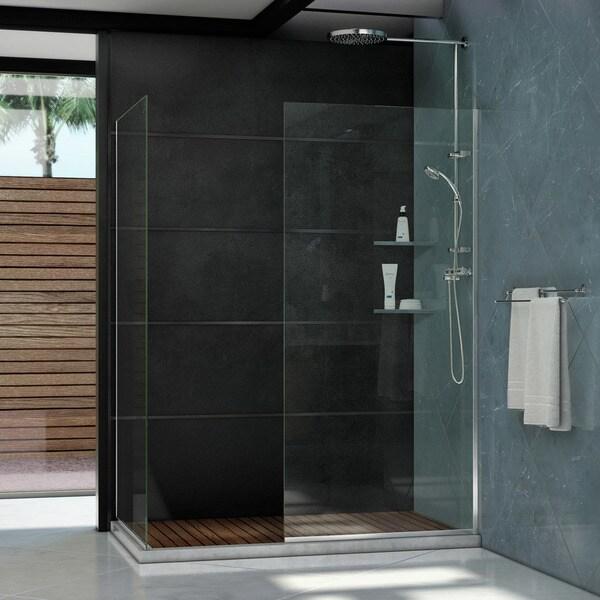 Shop Linea Frameless Shower Door Two Glass Panels Free Shipping