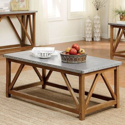 Furniture of America Gazy Industrial Brown Iron Top Coffee Table