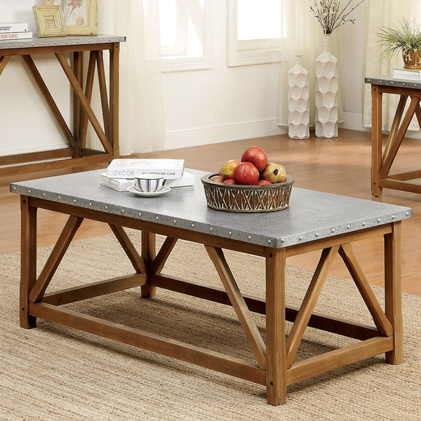 Industrial Renaissance Outdoor Coffee Table: Shop Furniture Of America Loren Industrial Style Iron Top