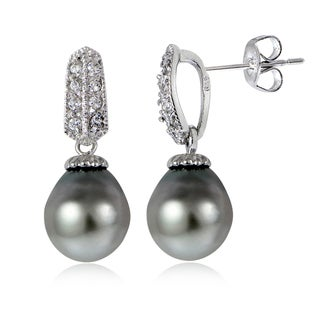 Glitzy Rocks Sterling Silver 11mm Tahitian Cultured Pearl and White Topaz Drop Earrings