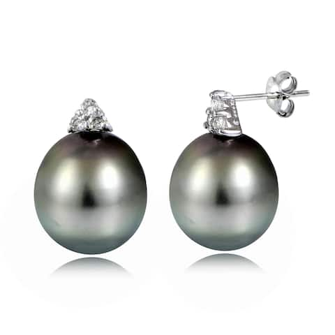Glitzy Rocks Sterling Silver 11mm Tahitian Cultured Pearl and White Topaz Stud Earrings