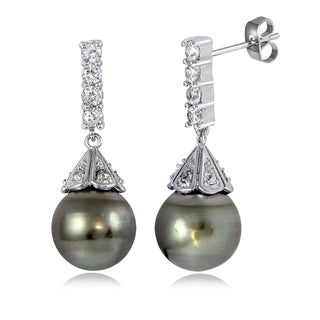 Glitzy Rocks Sterling Silver 11mm Tahitian Cultured Pearl and White Topaz Cone Drop Earrings