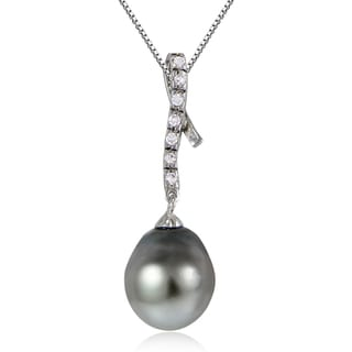 Glitzy Rocks Sterling Silver 11mm Tahitian Cultured Pearl and White Topaz Twirl Necklace