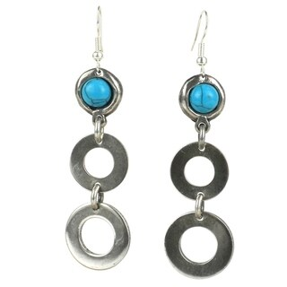 Handmade Bubbles and Turquoise Silverplated Earrings (South Africa)