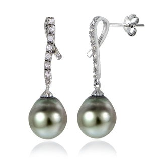 Glitzy Rocks Sterling Silver 11mm Tahitian Cultured Pearl and White Topaz Twirl Earrings