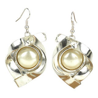 Handmade Wrapped Pearl Silverplated Earrings (South Africa)