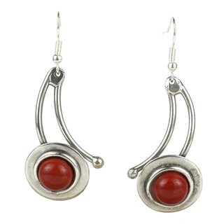 Handmade In the Round Red Jasper Silverplated Dangle Earrings (South Africa)