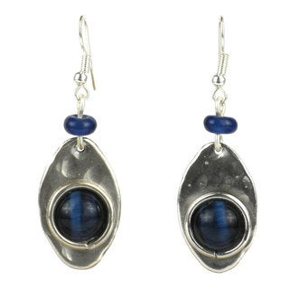 Blue Tiger Eye Silverplated Earrings (South Africa)