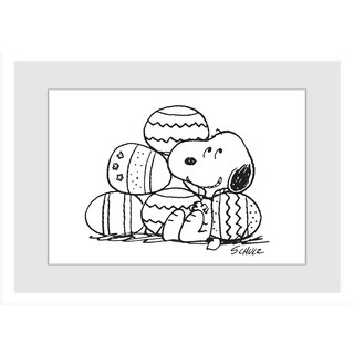 Marmont Hill - Snoopy With Easter Eggs Peanuts Framed Art Print