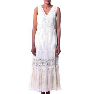 Handmade Cotton 'Flower Princess' Maxi Dress (India)