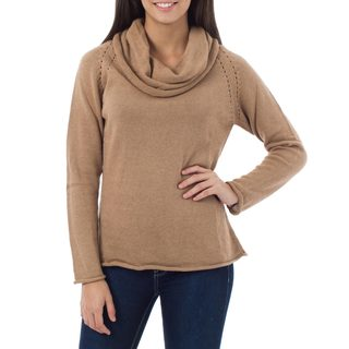 Tan Warmth Artisan Designer Handmade Women's Clothing Natural Cotton Alpaca Wool Rolled Women's Cowl Pullover Sweater (Peru)