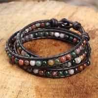 Handmade Silver Leather 'Inner Nature' Jasper Bracelet (Thailand)