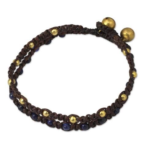 Handmade Brass 'Blue Boho Chic' Lapis Lazuli Bracelet (Thailand)