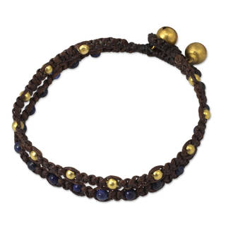 Handcrafted Brass 'Blue Boho Chic' Lapis Lazuli Bracelet (Thailand)