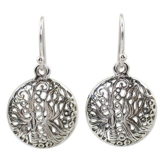 Handcrafted Sterling Silver 'Butterfly Moon' Earrings (Thailand)