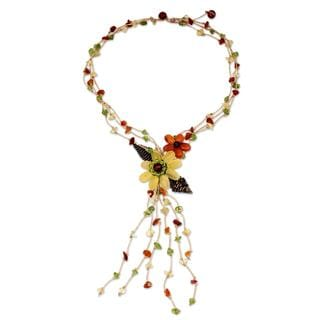 Handcrafted Multi-gemstone 'Blossoming Comets' Necklace (Thailand)