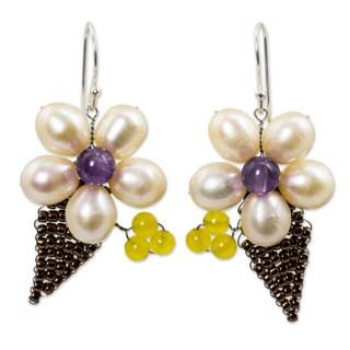 Handcrafted Pearl 'Petals' Multi-gemstone Earrings (8 mm) (Thailand)