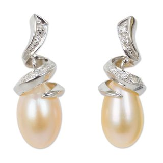 Sterling Silver 'Romance' Pearl Zirconium Earrings (10 mm) (Thailand)