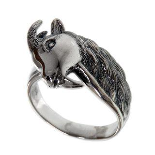 Handmade Men's Sterling Silver 'Capricorn' Ring (Indonesia)