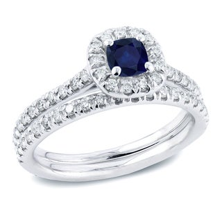 Auriya 14k Gold 2/5ct Blue Sapphire and 1/2ct TDW Diamond Bridal Ring Set (H-I, SI1-SI2)