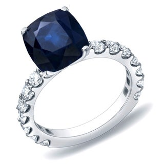 Auriya 14k Gold 1 1/2ct Blue Sapphire and 1ct TDW Diamond Engagement Ring (H-I, SI1-SI2)