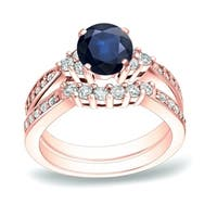 Auriya 14k Gold 3/4ct Sapphire and 3/5ct TDW Diamond Engagement Ring Set