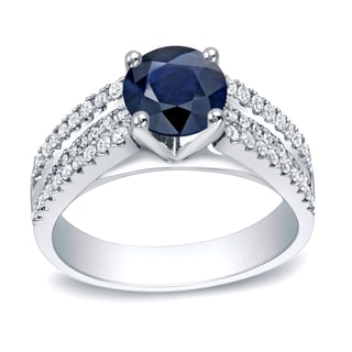 Auriya 14k Gold 1ct Blue Sapphire and 1/2ct TDW Round Diamond Engagement Ring (H-I, SI1-SI2)