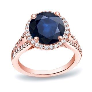 Auriya 14k Gold 1 1/5ct Blue Sapphire and 1/2ct TDW Round Diamond Engagement Ring (H-I, SI1-SI2)