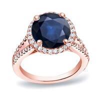 Auriya 14k Gold 1 1/5ct  Sapphire and 1/2ct TDW Halo Diamond Engagement Ring