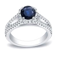 Auriya 14k Gold 3/4ct Blue Sapphire and 1/2ct TDW Round Diamond Engagement Ring (H-I, SI1-SI2)