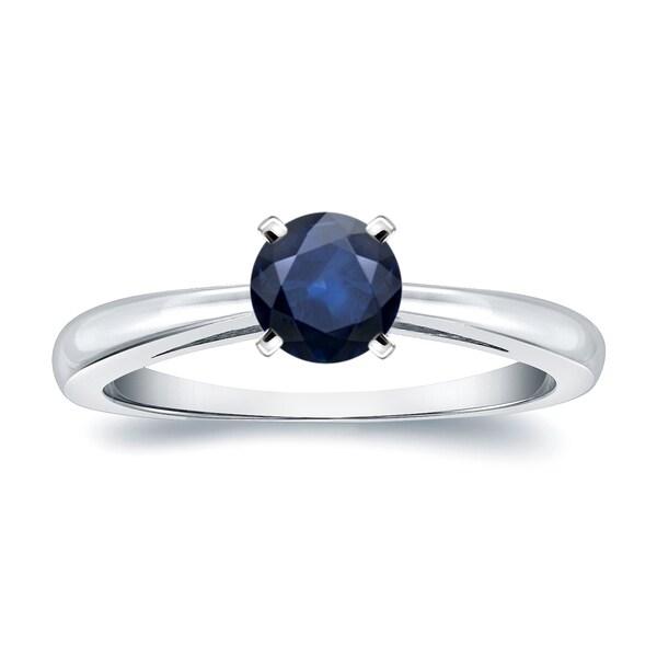 Auriya 14k Gold 1/4ct Round Blue Sapphire Gemstone Solitaire Engagement Ring