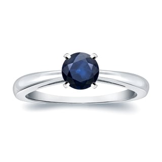 Auriya 14k Gold 1/4ct Round Blue Sapphire Gemstone Solitaire Engagement Ring