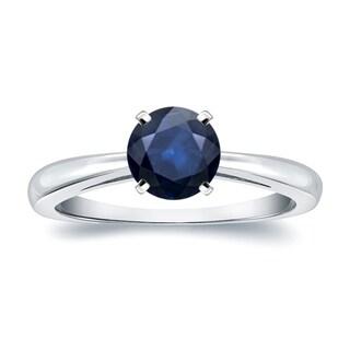 Auriya 14k Gold 1ct Round Blue Sapphire Gemstone Solitaire Engagement Ring