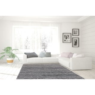 Black Complex Chenille Flat Weave Rug (3'x5') - Thumbnail 0