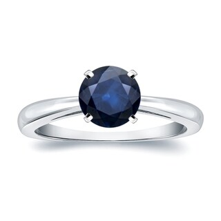 Auriya 14k Gold 1 1/2ct Round Blue Sapphire Gemstone Solitaire Engagement Ring