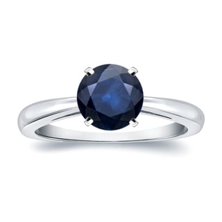 Auriya 14k Gold 2ct Round Blue Sapphire Gemstone Solitaire Engagement Ring