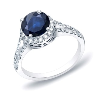Auriya 14k Gold 3/4ct Blue Sapphire and 1/2ct TDW Round Diamond Halo Engagement Ring (H-I, SI1-SI2)