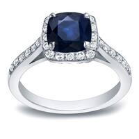 Auriya 14k Gold 1 3/5ct Cushion-Cut Blue Sapphire and 2/5ct TDW Halo Diamond Engagement Ring