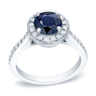 Auriya 14k Gold 1 1/4ct Blue Sapphire and 2/5ct TDW Round Diamond Halo Engagement Ring (H-I, SI1-SI2)