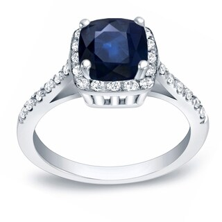 Auriya 14k Gold 1 1/2ct Blue Sapphire and 1/4ct TDW Diamond Engagement Ring (H-I, SI1-SI2)