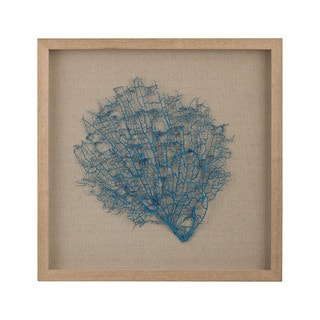 Dimond Home Turquoise Sea Fan on Natural Linen Framed Wall Art