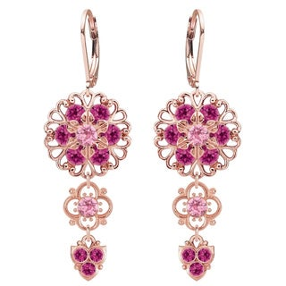 Lucia Costin Sterling Silver Light Pink/ Fuchsia Crystal Earrings