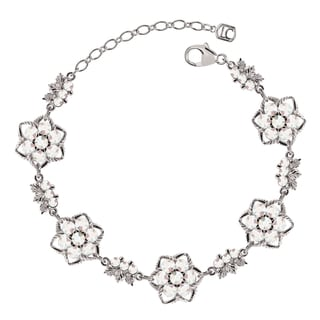 Lucia Costin Sterling Silver White Crystal Bracelet