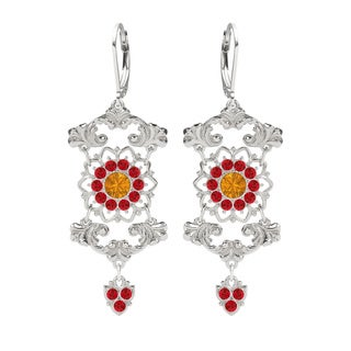 Lucia Costin Sterling Silver Yellow/ Red Crystals Earrings