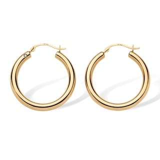 PalmBeach Tailored 14k Yellow Gold Nano Diamond Resin-filled Hoop Earrings