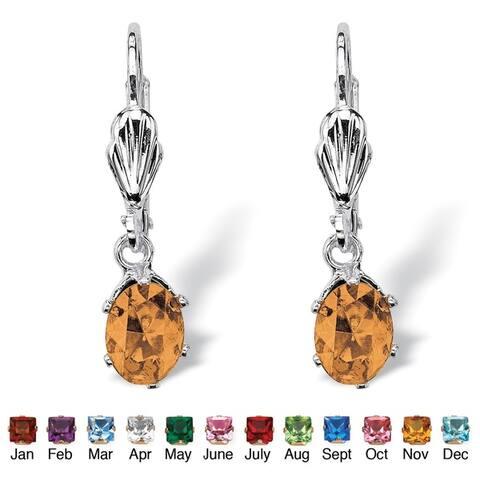 Color Fun Silvertone Oval-cut Birthstone Drop Earrings